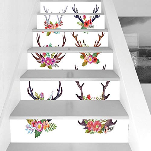 Stair Stickers Wall Stickers,6 PCS Self-Adhesive,Antlers Decor,Deer Horns Bouquet Flowers Bloom Fun Springtime Garden Branches Decorative,Stair Riser Decal for Living Room, Hall, Kids Room Decor