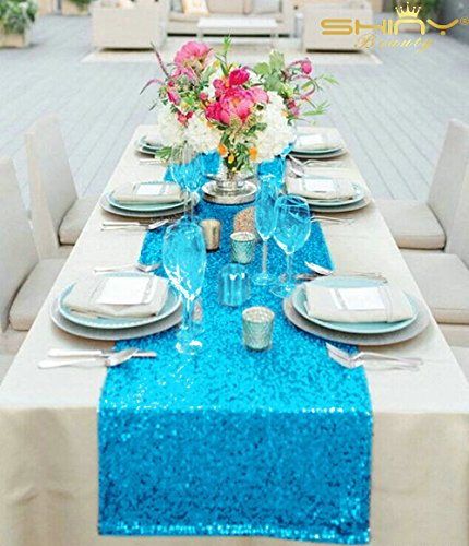 """Turquoise Sequin Table Runner 14"""" x 108"""" Sequin TableCloth Wholesale Aqua Blue Sequin Table Cloths Sequin Linens Teal Sequin Silver Sequin"""