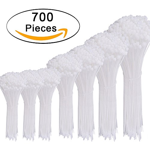 AUSTOR 700 Pieces Zip Ties White Nylon Cable Zip Ties Self Locking Cable Ties in 4/6/8/10/12 Inches for Home Office Garage and Workshop by AUSTOR