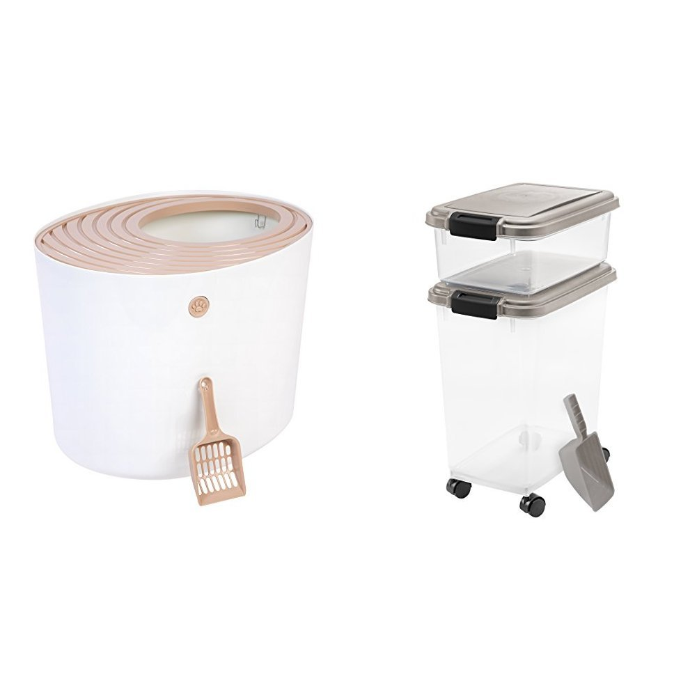 IRIS Cat Bundle with Top Entry Litter Box and Airtight Food Storage by