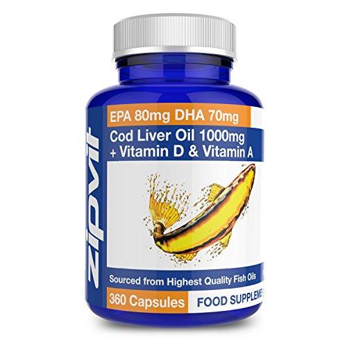 Cod Liver Oil 1000mg, Pack of 360 Softgels, by Zipvit Vitamins Minerals &...
