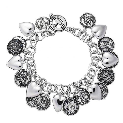 Bracelet Raspini cœurs et monnaies 6495_ r argent