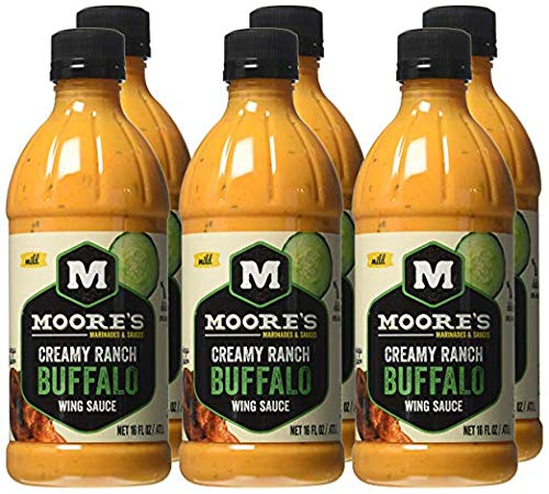 Moore's Wing Sauce, Creamy Ranch Buffalo - 16 Fl Oz | Pack of 6 by Moore's