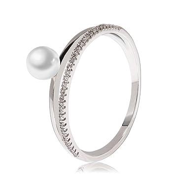 ANNA GRACE En los Mujeres Boda Anillos - Elegante Faux Perla y Muchos Pequeño Diamantes Plata Anillo para Damas, Metal, Argent_18, 18: Amazon.es: Hogar