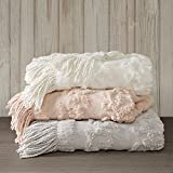 Madison Park Chloe 100% Cotton Tufted Chenille Design With Fringe Tassel Luxury Elegant Chic Throw Blanket For Couch, Bed, 50X60' Inches, Blush