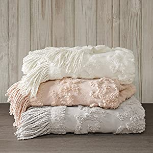 """Madison Park Chloe 100% Cotton Tufted Chenille Design With Fringe Tassel Luxury Elegant Chic Throw Blanket For Couch, Bed, 50X60"""" Inches, Grey"""