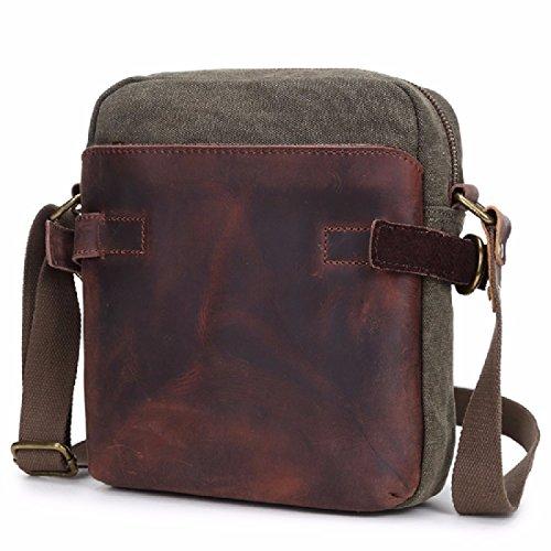 KHSKX Canvas bag men's casual canvas shoulder bags slung parcel male Korean version flows cool chest Pack,Army Green