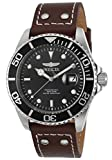 Invicta 'Pro Diver' Quartz Stainless Steel and Leather Automatic Men's Watch, Color
