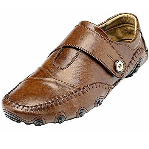 Pinuo Heren Instappers Lederen Casual Schoenen Heren Flats Oxford Schoenen Voor Heren Rijden Ademende Schoenen Bruin