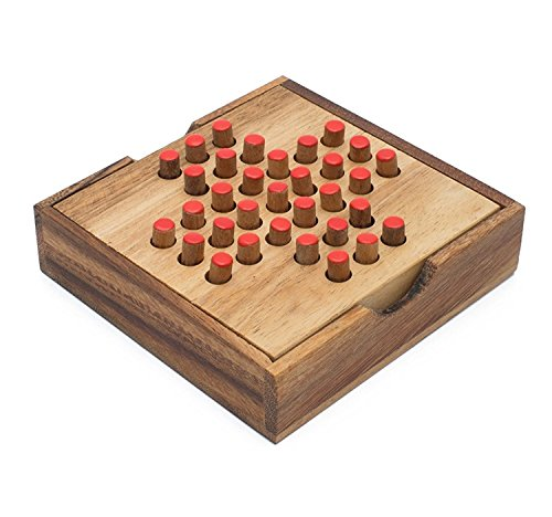 Solitaire: Handmade & Organic Traditional Wood Game for Adults from SiamMandalay with SM Gift Box(Pictured)