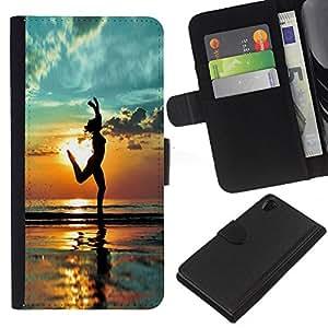 KLONGSHOP // Tirón de la caja Cartera de cuero con ranuras para tarjetas - Yoga de la playa Verano Sombra Socorro - Sony Xperia Z2 D6502 //