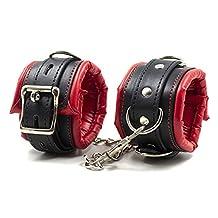 Red Black Leather Padded Hand Cuffs Wrist Cuffs