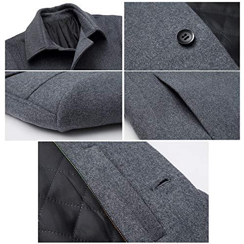 Scarf Men's Overcoat With Winter Windbreaker Dress Fleece Fit Male Jacket Woolen Long Formal Coat For Thickened Yra Slim Lapel Gentleman Black Medium 8xqdwU8f0