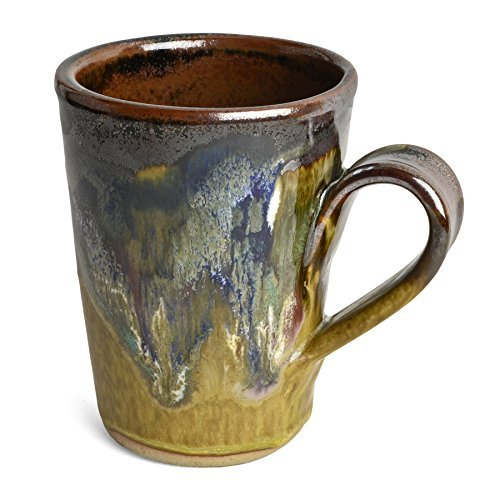 Handmade Pottery Mugs (Larrabee Ceramics Coffee Mug, Brown/Multi)