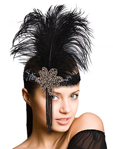 Fascigirl Feather Fascinator Headband Party Tassel Sequin Party Cosplay Headpiece