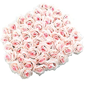 Topixdeals Silk Cream Roses Flower Head, Artificial Flowers Heads for Wedding Flowers Accessories Make Bridal Hair Clips Headbands Dress (50pcs Light Pink) 118