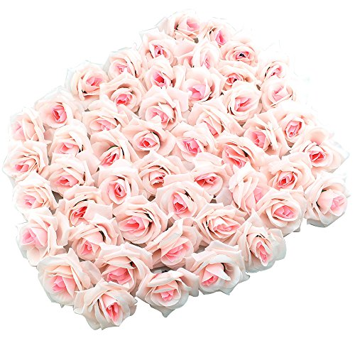 Topixdeals Silk Cream Roses Flower Head, Artificial Flowers Heads for Wedding Flowers Accessories Make Bridal Hair Clips Headbands Dress (50pcs Light Pink)
