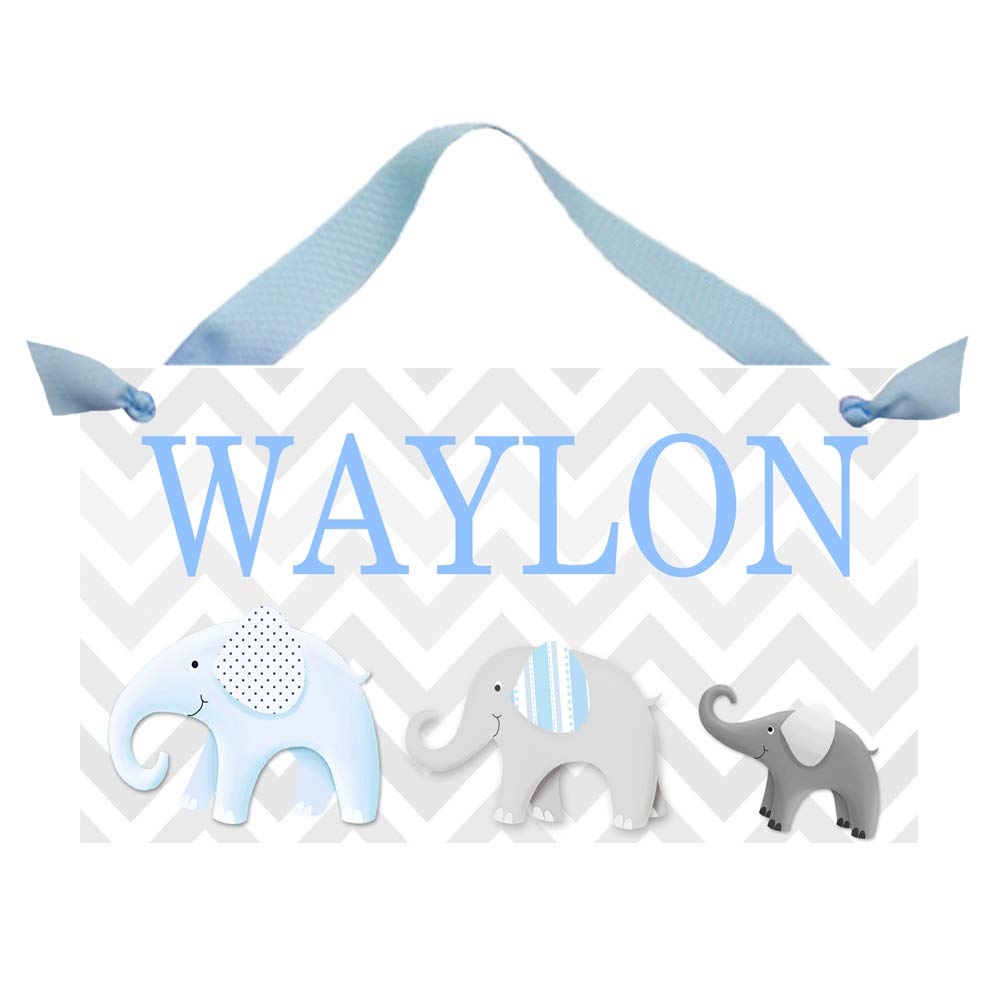 Boys Bedroom Baby Nursery Blue and Grey Chevron Elephant Bedroom Personalized Name Sign Door Sign DS0121