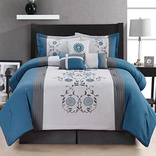 Fashion Street 7 Piece San Marco Embroidered Comforter Set, Blue, - San Marcos Tex
