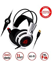 ⭐️KLIM™ Puma - USB Gamer Headset with Mic - 7.1 Surround Sound - Very Audio - Integrated Vibrations - Perfect for PC and PS4 Gaming White [ New 2019 Version ]