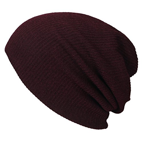 Knit Red Hat Skull Ribbed Beanie ililily Cap Wine Neck Snood 51qwznRHU