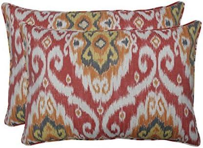 Pillow Perfect Outdoor Indoor Ubud Coral Rectangular Throw Pillow Orange Set of 2