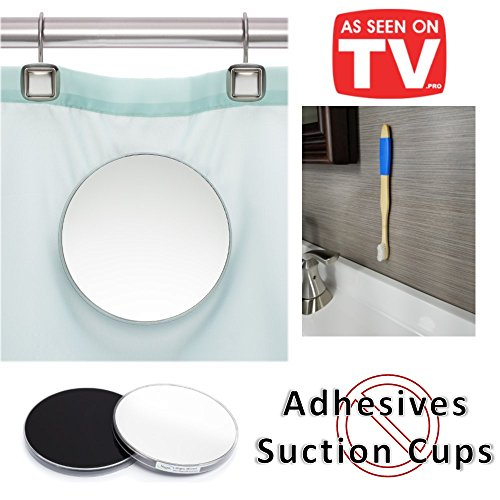 Fog Free 2 Piece Shower Mirror | Mounts on Shower Curtain | No more unreliable suction cups | Free Magnic Bamboo Toothbrush with wall mount | As Seen On TV (Blue)