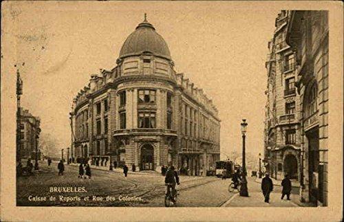 Caisse de Reports et Rue des Colonies Brussels, Belgium Original Vintage Postcard