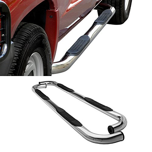 """VioGi 2pcs Brand New 3"""" Round Stainless Steel Side Step Nerf Bars Running Boards For 01-03 Ford F150 Supercrew/Crew Cab With 4 Full Size Doors"""
