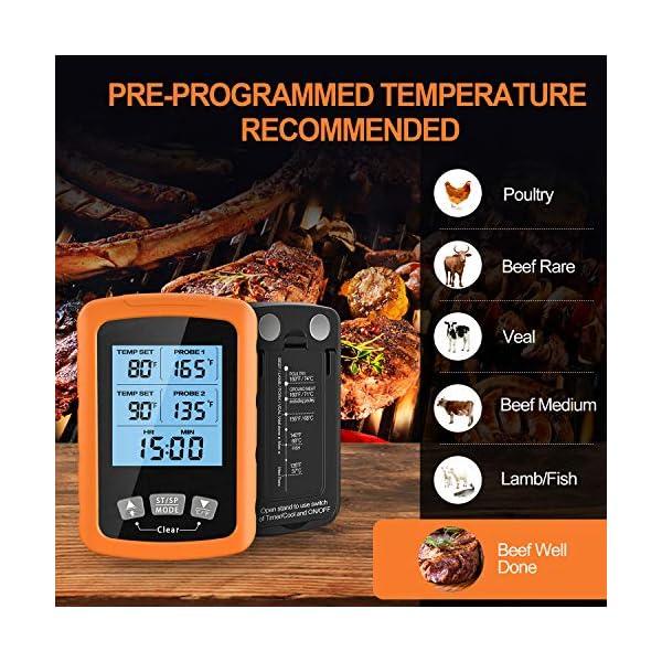 """Cocoda Termometro Cucina, Doppia Sonda Lunga da 6.4"""" Termometro Barbecue a Lettura Istantanea, Impermeabile Termometro Carne con Controluce LCD e Timer Cucina, per Forno Grigliare Caramelle Latte 7"""