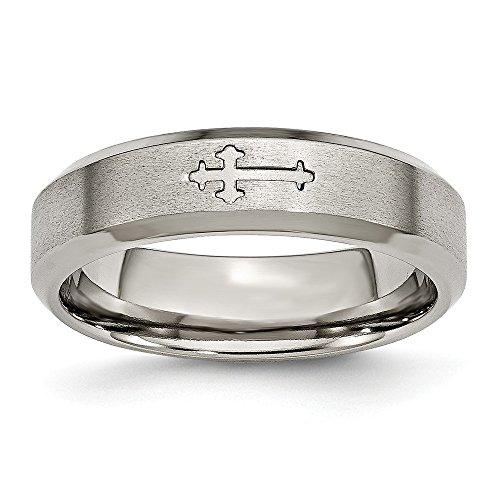 6mm Beveled Edge Grooved Religious Christian Cross Designer Titanium Wedding Band - Size 10.5