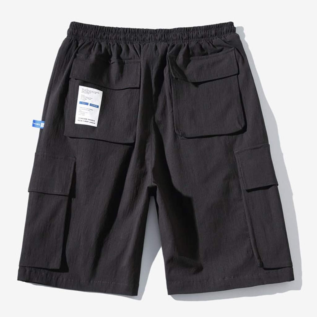 DIOMOR Casual Drawstring Relaxed Fit Cargo Shorts for Men Baggy Comfy Multi Pockets Outdoor Beach Trunks Walk Pants