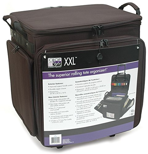Crop In Style 60001  XXL Rolling Tote, Black Scrapbooking Caddy Tote