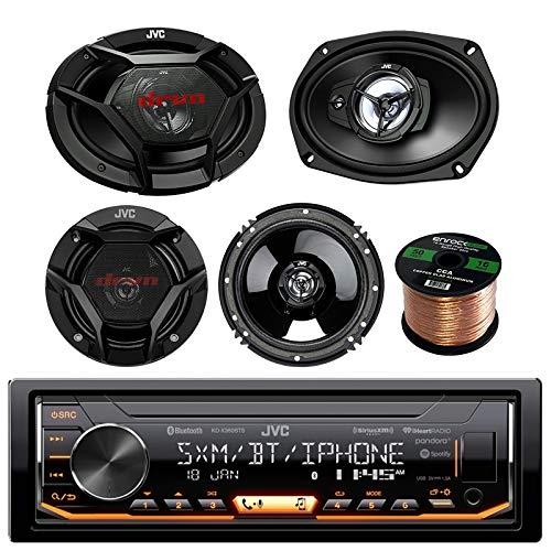 JVC KDX330BTS Single-DIN AM/FM USB AUX Car Stereo Receiver Bundle Combo With 2x JVC CS-DR6930 6x9