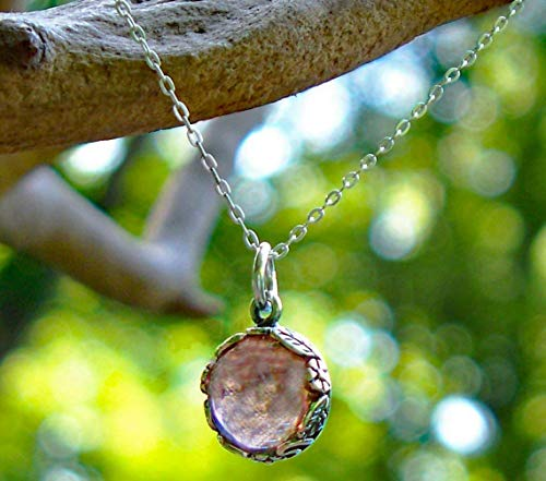 (Recycled Antique Pink Depression Glass and Sterling Silver Botanical Collection Necklace)