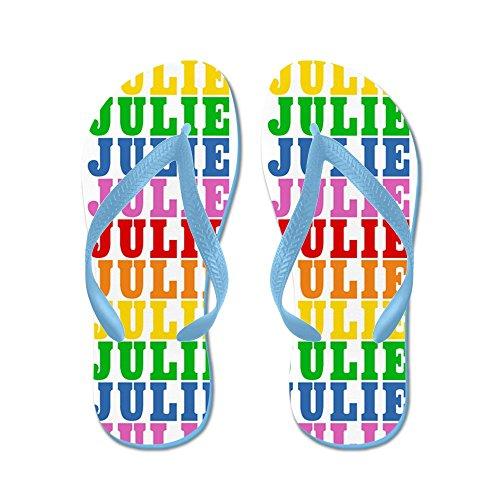 CafePress Rbwname_Julie_FF - Flip Flops, Funny Thong Sandals, Beach Sandals Caribbean Blue