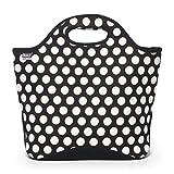 BUILT NY Market Neoprene Shopping Tote Bag, Big Dot Black & White