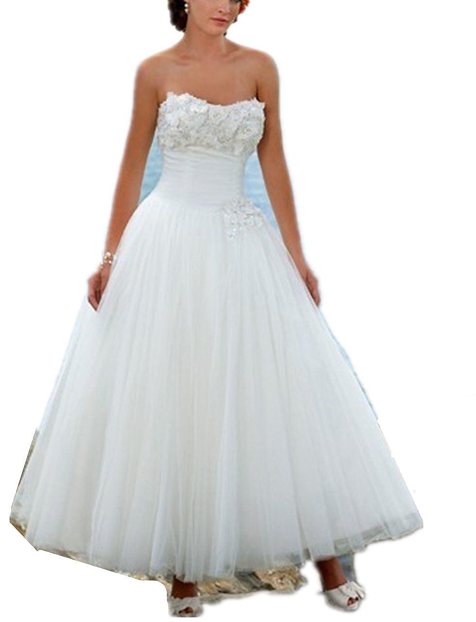 YASIOU Hochzeitskleid Damen A Linie Kurz Spitze Tüll Standesamt