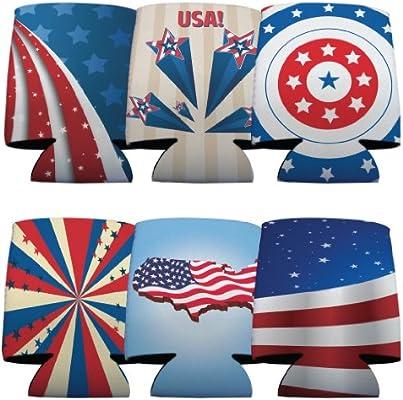 USA Patriotic American Flag Koozies Set//6 6 Different Flag Designs