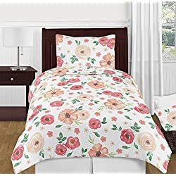 Sweet Jojo Designs Peach and Green Shabby Chic Watercolor Floral Girl Twin Kids Childrens Bedding Comforter Set - 4 Pieces - Pink Rose Flower