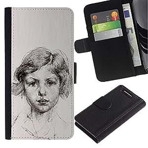 For Sony Xperia Z1 Compact D5503 Case , Portrait Young Girl Paper - la tarjeta de Crédito Slots PU Funda de cuero Monedero caso cubierta de piel