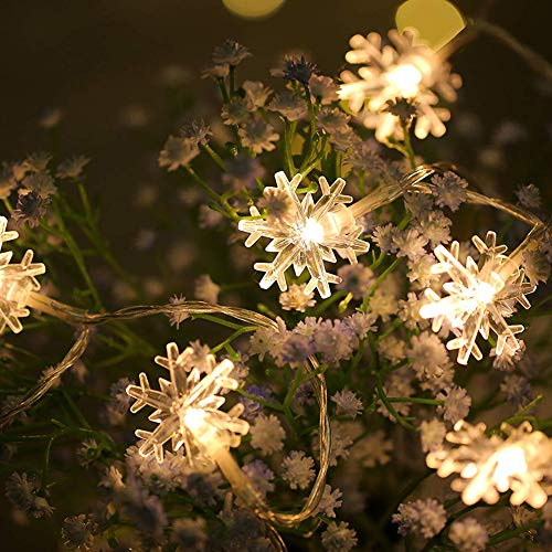 80 LED String Lights, 33FT Mini Snowflake Christmas Light,AA Battery Operated Warm White Fairy Snowflake String Lights Indoor Outdoor Festival Lights for Chrismas, Party, Wedding, Holiday Decor