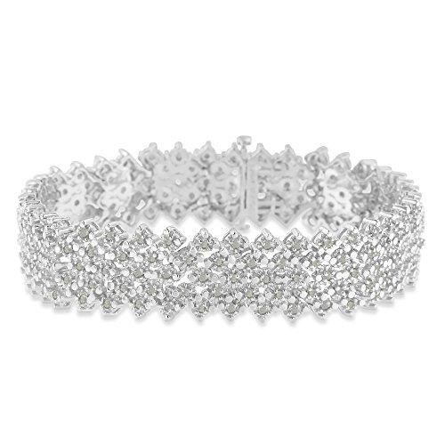 (Original Classics Sterling Silver 3ct TDW Multi-Row Rose-Cut Diamond Tennis Bracelet(I-J,)