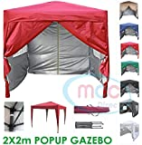 Mcc@home Premier 2x2m Waterproof Pop-up Gazebo with Silver Protective Layer Marquee Canopy (WS) (Red)
