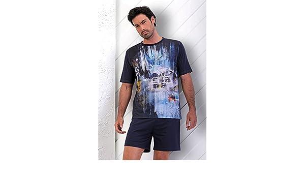 Massana - Pijama verano Hombre Azul marino MASSANA Blue World - MARINO, L: Amazon.es: Ropa y accesorios
