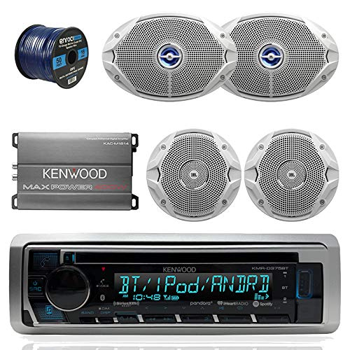 Kenwood KMRD365BT Bluetooth Marine CD Player Receiver Bundle Combo With Compact 400-Watt Amplifier + 2x JBL 6x9