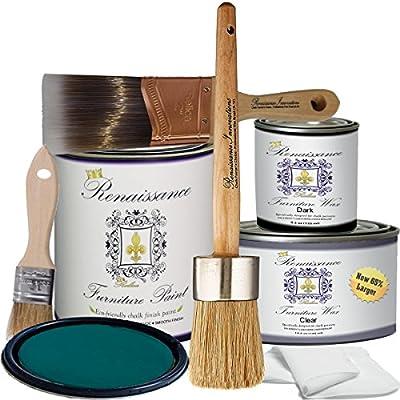 Renaissance Chalk Finish Paint - Camelot Blue - Deluxe Starter Kit - Chalk Furniture & Cabinet Paint - Non Toxic, Eco-Friendly, Superior Coverage