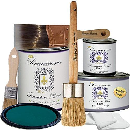 Renaissance Chalk Finish Paint  Camelot Blue  Deluxe Starter Kit  Chalk Furniture amp Cabinet Paint  Non Toxic EcoFriendly Superior Coverage