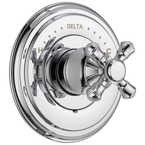 Delta Cassidy Collection Chrome Finish Monitor 14 Series Shower Faucet Control COMPLETE ITEM with Single Cross Handle and Rough-in Valve without Stops (Lhp Chrome Monitor)