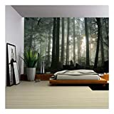 wall26 - Foggy Forest - Removable Wall Mural | Self-Adhesive Large Wallpaper - 100x144 inches